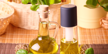 Healthy Cooking oil placed in a glass container